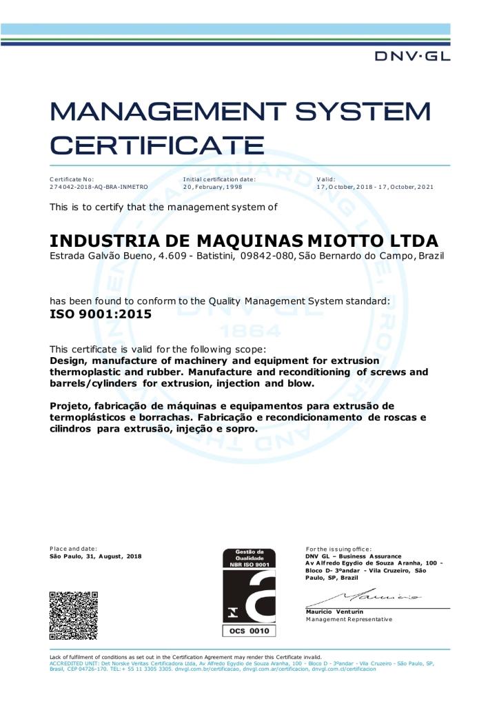 Certificado Iso 9001-2015 - Miotto